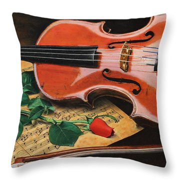 Violin And Rose Throw Pillow