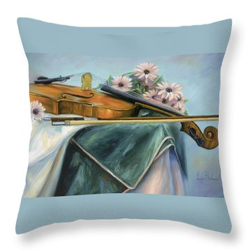 Violin Throw Pillow by Lucie Bilodeau