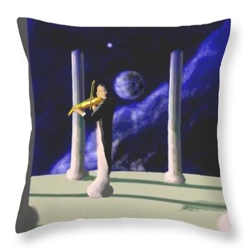 Violin Player Throw Pillow by Steve  Hester
