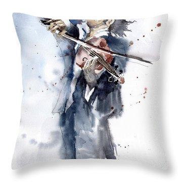 Violine Player 1 Throw Pillow by Yuriy  Shevchuk