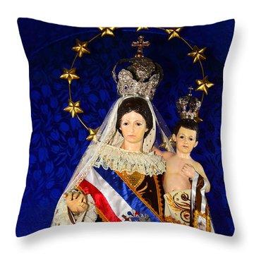 Virgen Del Carmen Close Up Chile Throw Pillow