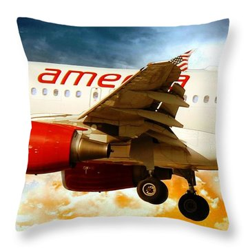 Airplanes Throw Pillow featuring the photograph Virgin America A320 by Aaron Berg