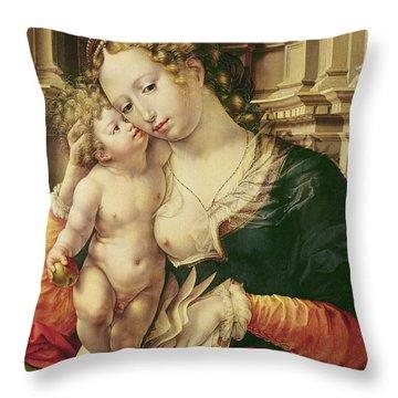 Virgin And Child Throw Pillow by Jan Gossaert