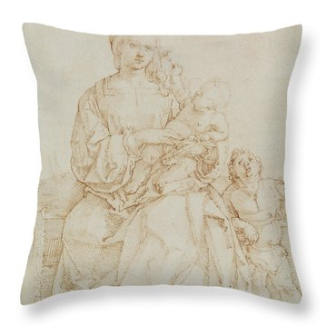 Virgin And Child With Infant St John Throw Pillow