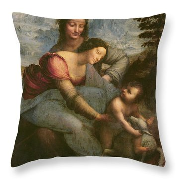 Virgin And Child With Saint Anne Throw Pillow