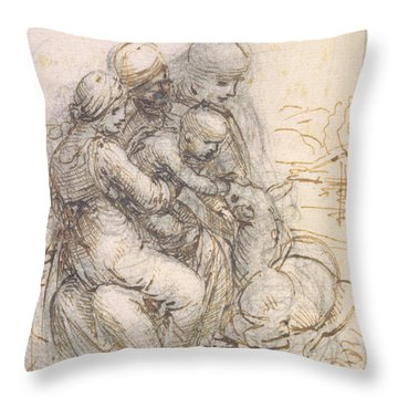 Virgin And Child With St. Anne Throw Pillow