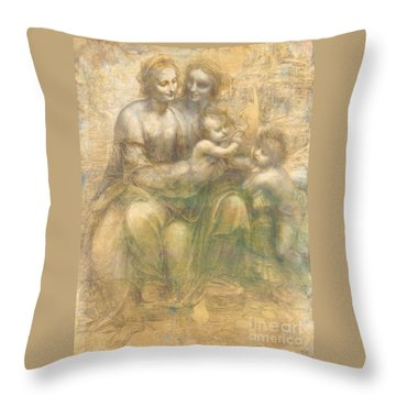 Virgin And Saint Anne With Child Throw Pillow by Pg Reproductions