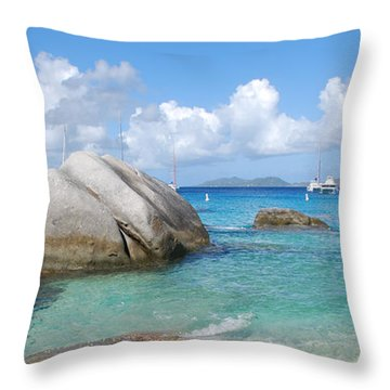 Virgin Islands The Baths With Boats Throw Pillow