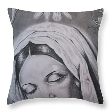 Virgin Mary Throw Pillow by Anthony Gonzalez