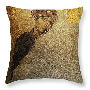 Throw Pillow featuring the photograph Virgin Mary-detail Of Deesis Mosaic  Hagia Sophia-day Of Judgement by Urft Valley Art