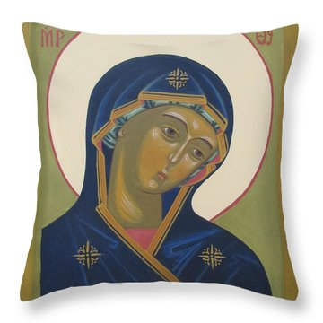 Virgin Mary Icon Throw Pillow by Seija Talolahti