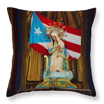 Virgin Mary In Church Throw Pillow