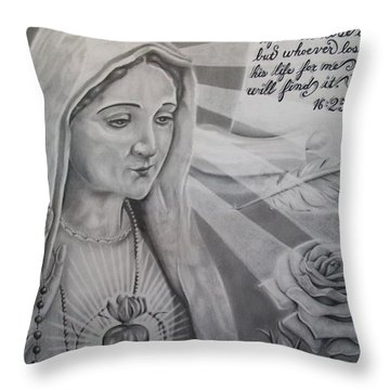 Virgin Mary With Flower Throw Pillow by Anthony Gonzalez