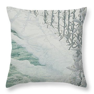 Virgin Of The Lilies Throw Pillow by Carlos Schwabe