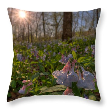 Virgina Bluebells Throw Pillow
