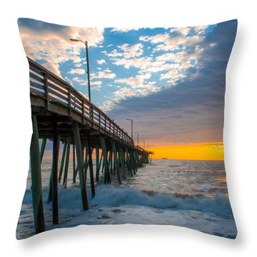 Virginia Beach Pier Into The Sun Throw Pillow