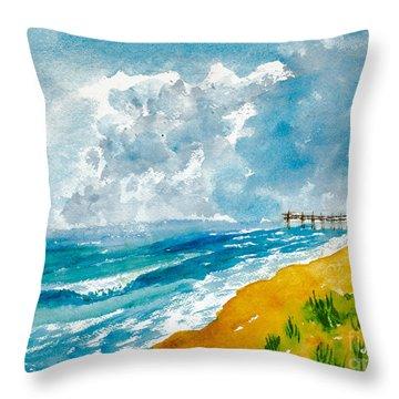 Virginia Beach With Pier Throw Pillow