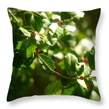 Throw Pillow featuring the photograph Virginia Holly Tree And Berries by Suzanne Powers