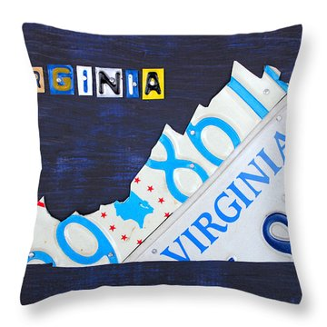 Virginia License Plate Map Art Throw Pillow by Design Turnpike