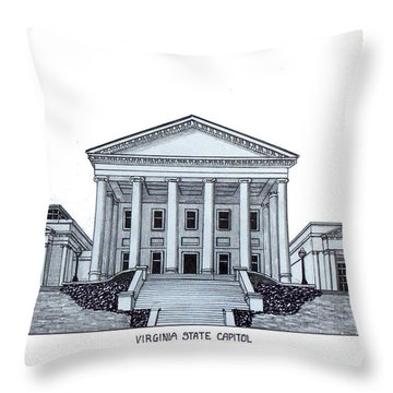 Virginia State Capitol Throw Pillow by Frederic Kohli