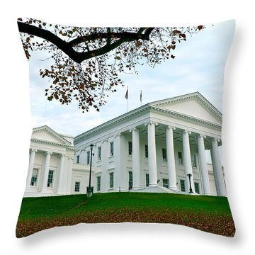 Virginia State Capitol In Autumn Throw Pillow