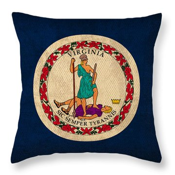 Virginia State Flag Art On Worn Canvas Throw Pillow by Design Turnpike