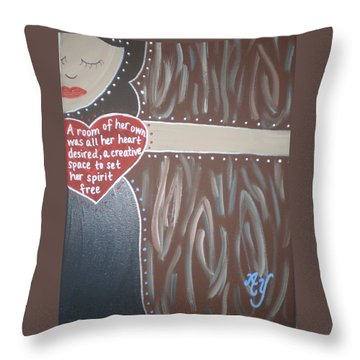 Virginia Woolf Throw Pillow by Angela Yarber