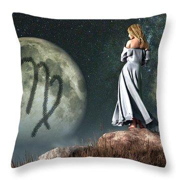 Virgo Zodiac Symbol Throw Pillow by Daniel Eskridge