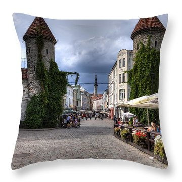 Viru Gate Tallinn Estonia Throw Pillow