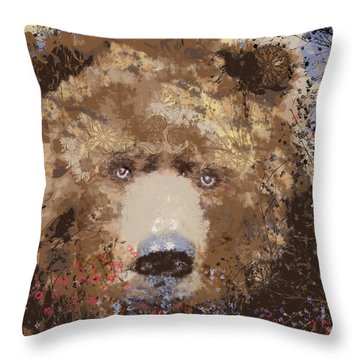 Visionary Bear Throw Pillow by Kim Prowse