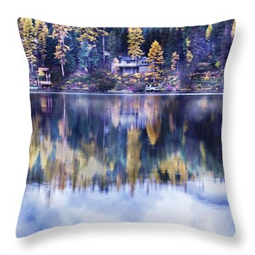 Visions- Lake Inez Throw Pillow by Janie Johnson