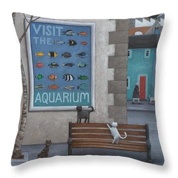 Visit The Aquarium Throw Pillow