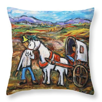 Throw Pillow featuring the painting Visit The In-laws by Xueling Zou