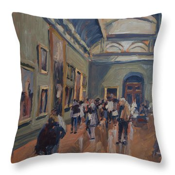 Throw Pillow featuring the painting Visit To The National Gallery by Nop Briex