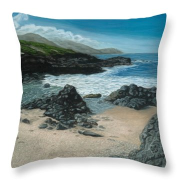 Visitor At Kaena Point Throw Pillow