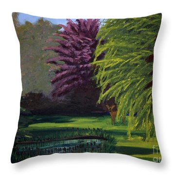 Visitor To The Backyard Pond Throw Pillow by Vicki Maheu