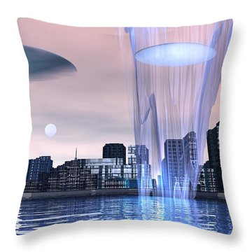 Visitors Throw Pillow by John Pangia