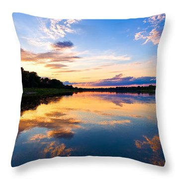 Vistula River Sunset Throw Pillow