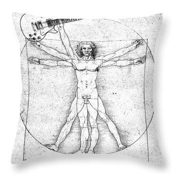 Vitruvian Guitar Man Bw Throw Pillow by Jon Neidert