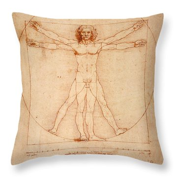 Vitruvian Man Throw Pillow by Bill Cannon