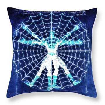 Vitruvian Spiderman White In The Sky Throw Pillow