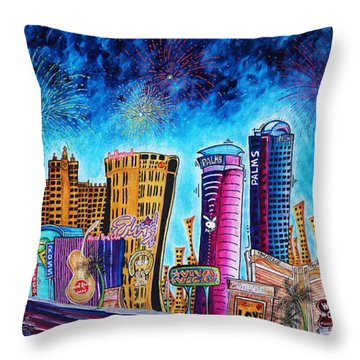 Viva Las Vegas A Fun And Funky Pop Art Painting Of The Vegas Skyline And Sign By Megan Duncanson Throw Pillow
