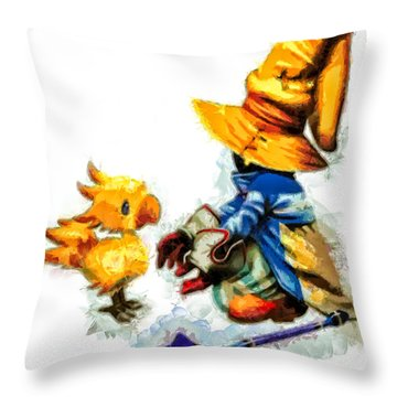 Vivi And The Chocobo Throw Pillow