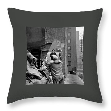 Vivian Maier Self Portrait Probably Taken In Chicago Illinois 1955 Throw Pillow by David Lee Guss