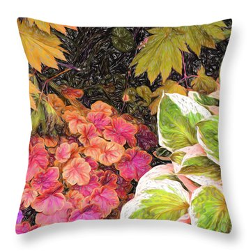 Throw Pillow featuring the digital art Vivid Flora by Terry Cork