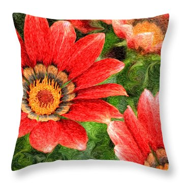 Vivid Orange African Daisy Digital Oil Painting Throw Pillow