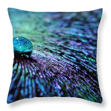 Vivid Peacock Throw Pillow by Krissy Katsimbras