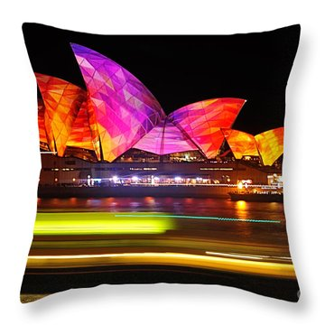 Vivid Sydney By Kaye Menner - Opera House ... Triangles Throw Pillow by Kaye Menner