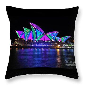 Vivid Sydney By Kaye Menner - Opera House... Patterns 2 Throw Pillow by Kaye Menner