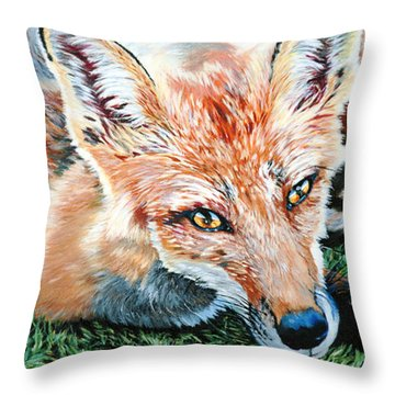 Vixen - Red Fox Throw Pillow